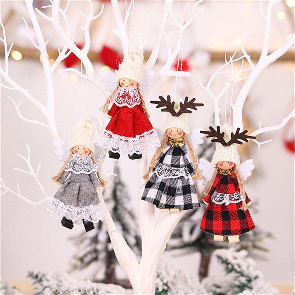 Árvore de Natal Árvore de Natal do anjo pingentes asas pingentes de Natal Pendant Tecido Dolls Toy Dolls decorações do ano novo 2020