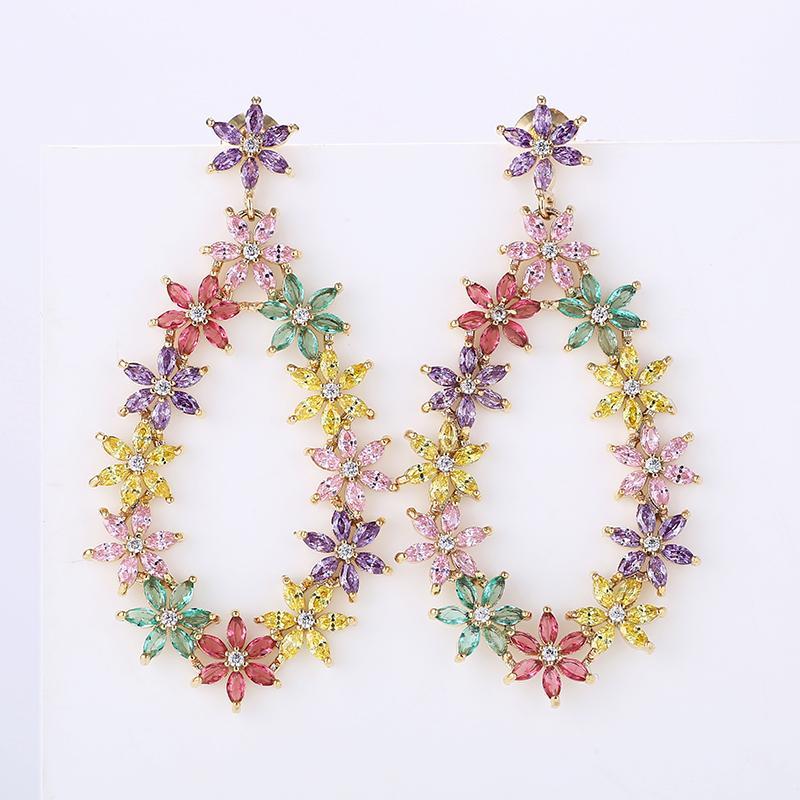 Small Daisy Flower Ring Drop Earrings for Women Beautiful Colorful Zirconia Beautiful Design Fashion Jewelry XIUMEIYIZU Brand