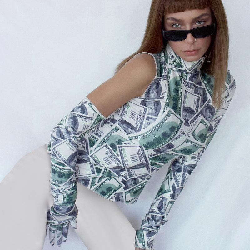 Queda 2020 Moda feminina Preto Designer T-shirt irregular manga comprida gola alta com luvas Feminino Top Curto Streetwear slimmingmachine66
