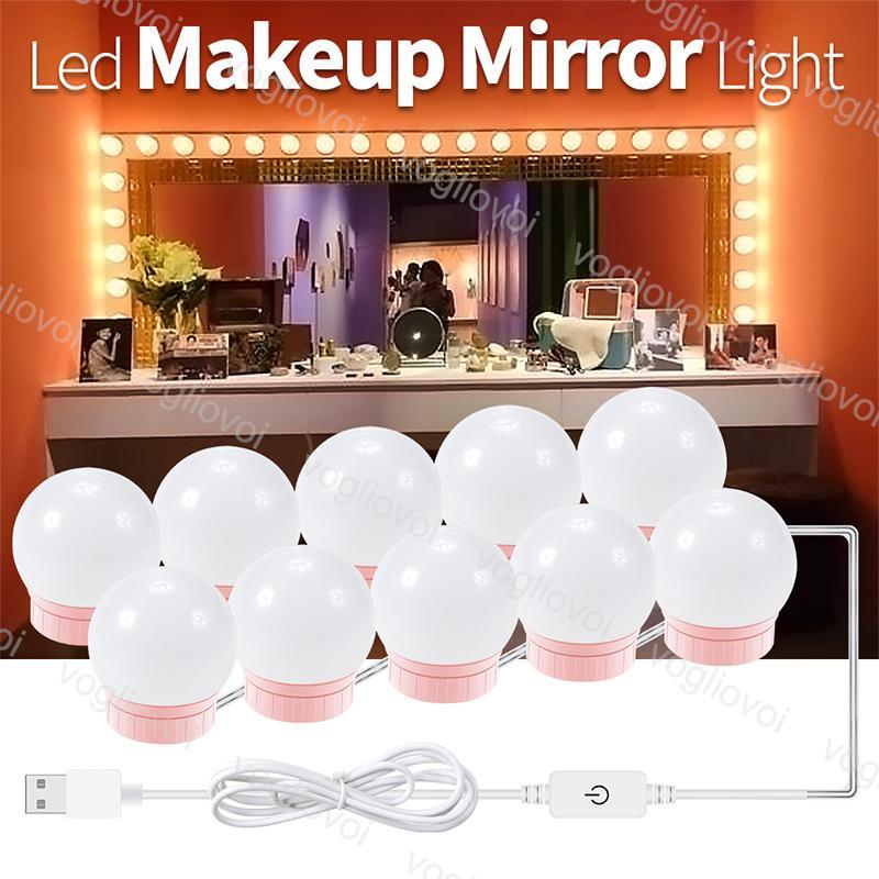 أضواء الغرور ماكياج الجمال ضوء 4000-5500k عكس الضوء مرآة مصباح usb 5 فولت الوردي لمبة ديكور داخلي الإضاءة للاستوديو خلع الملابس الجدول نوم الحمام المكياج dhl