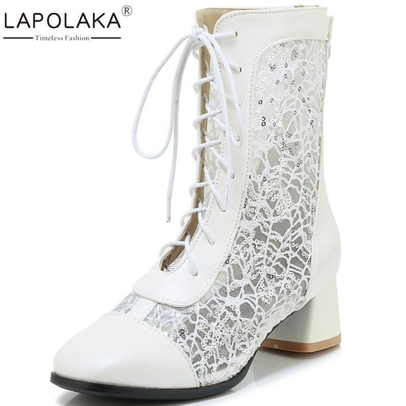Lapolaka Hot Sale 2020 Sapato de Salto Grande Zip Shoes Up Verão Mulher Botas Feminino malha Zip Up Mid-Calf Botas Calçados Femininos