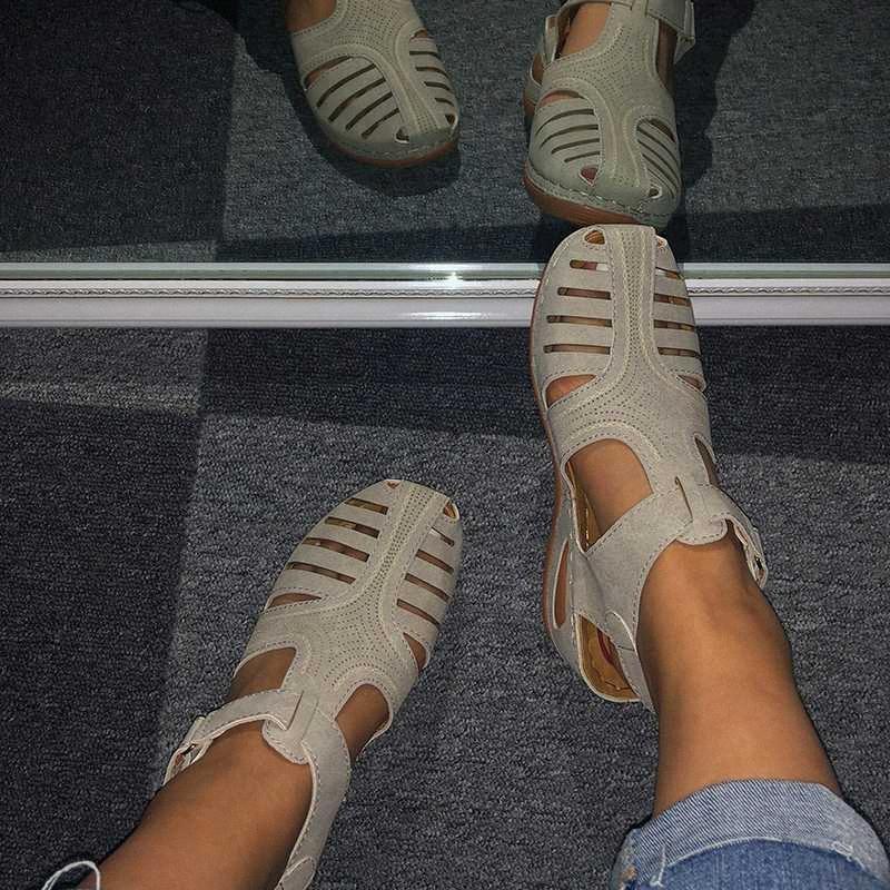 Новые Женщины Туфли летние женские сандалии PU пряжки ретро Шитье выдалбливают женщина плоские туфли Платформа Комфорт Женский Повседневная обувь P1te #