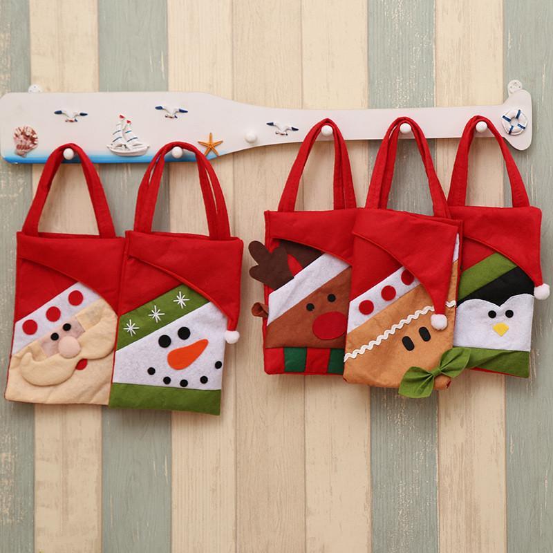 desenho animado não tecido de Natal bolsa alces Papai Noel Xmas saco Infantil Xmas presente Saco dos doces do Natal Compra da bolsa T9I00555