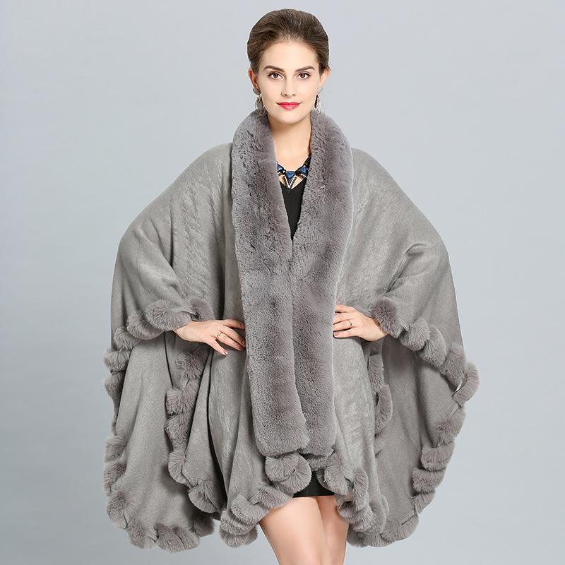 SWONCO Tamanho Grande Imitação Fox Fur Collar Xaile Manto Jacket Feminino New Inverno Quente Brasão Mulheres longo Ponchos e Cabo Mulheres 200919