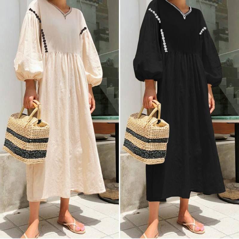 2 컬러 S-3XL 여성 헐렁한 캐주얼 T 셔츠 카프 탄 롱 드레스 61363861924129 코튼 롱 맥시 드레스 여성
