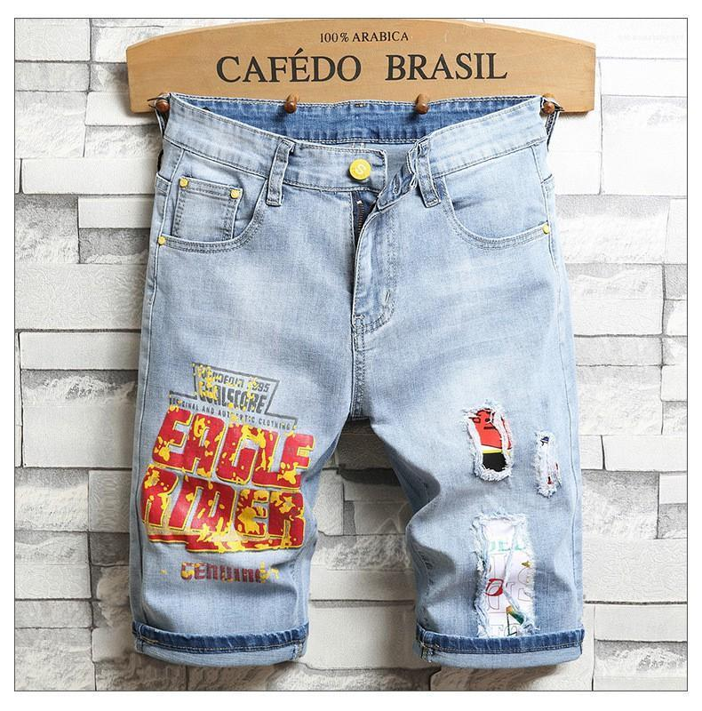 Дизайнер одежды Повседневная мода лето новый мужской короткие штаны Hole Patch Версия для печати Мужские шорты Эластичность Тонкий Мужчины