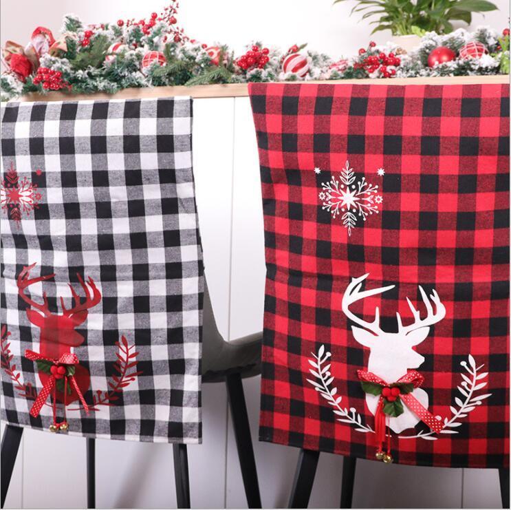 Cadeira de Natal Covers Red Black White Plaid Seat Cover Elk Impressão Presidente Encosto Tampa Início de Ano Novo Partido Decoracion 56x43cm LSK1304