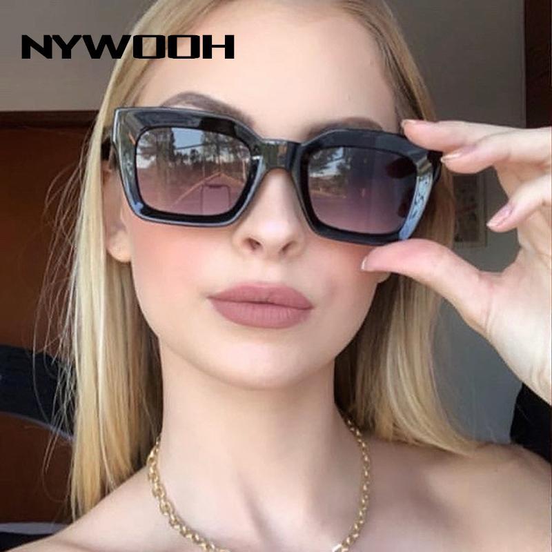Nywooh Vintage Glasses Design Design Donne Brand Sunglass Sun Sole Quadrato Fashion Grad Occhiali da sole Occhiali da sole Shades Shades UV400 QHLMH