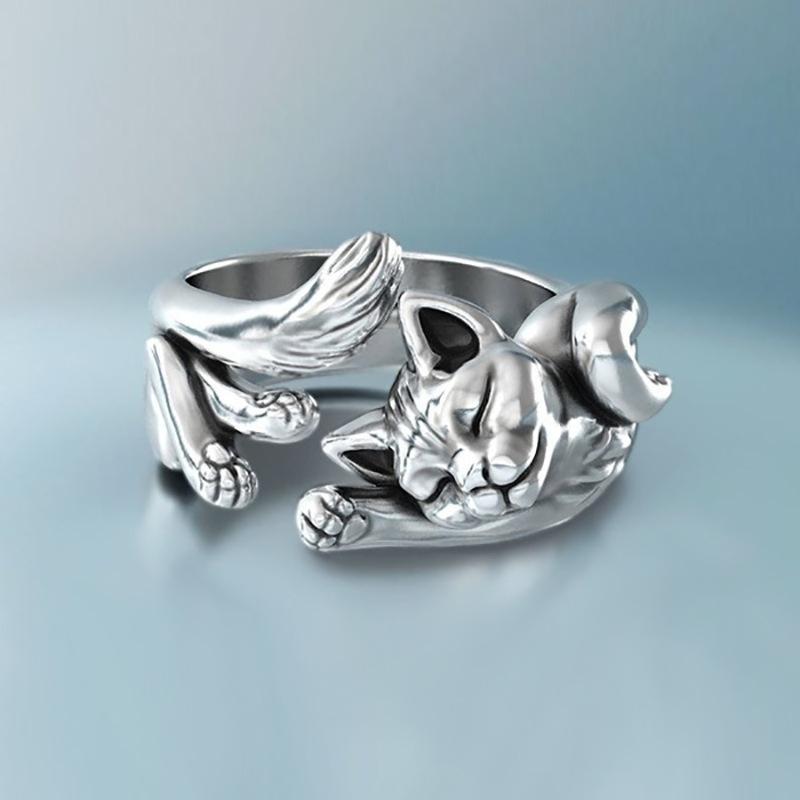 Корея Стиль Серебро Цвет Простой Cute Kitten Открытие Регулируемые кольца Женщина Животное Cat кольцо для женщин партии оптовой продажи ювелирных изделий