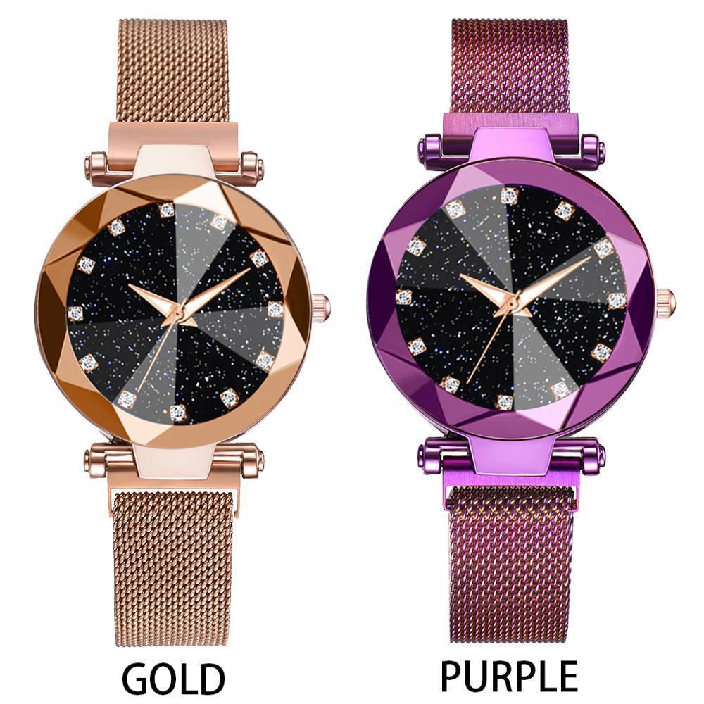 2adet İzle Seti Lüks Kadınlar Bilezik Starry Sky Manyetik Quartz Saat Geometrik Yüzey Casual Kadınlar Elbise Kuvars saatler