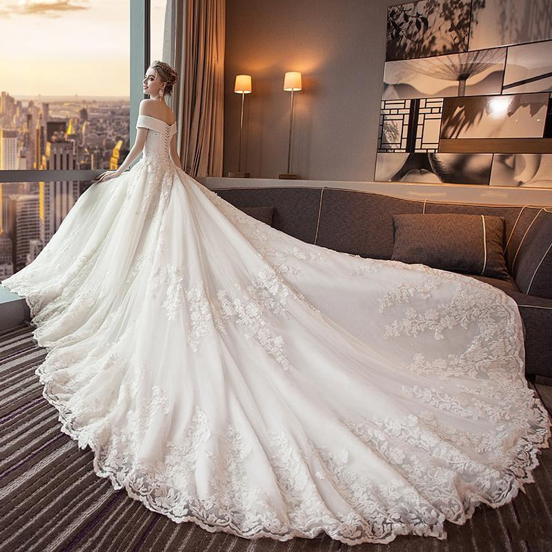 Новый роскошный Vintage арабский Дубай Свадебные платья Милая шариков Rhinestone шнурка Аппликация Тюль Плюс Размер Свадебные платья Свадебные платья