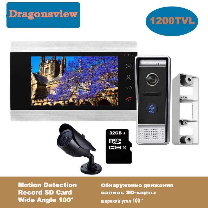 Dragonsview puerta de 7 pulgadas con el timbre del teléfono y CCTV cámara de seguridad Inicio de grabación del sistema de desbloqueo de movimiento alarma del día de la noche de la