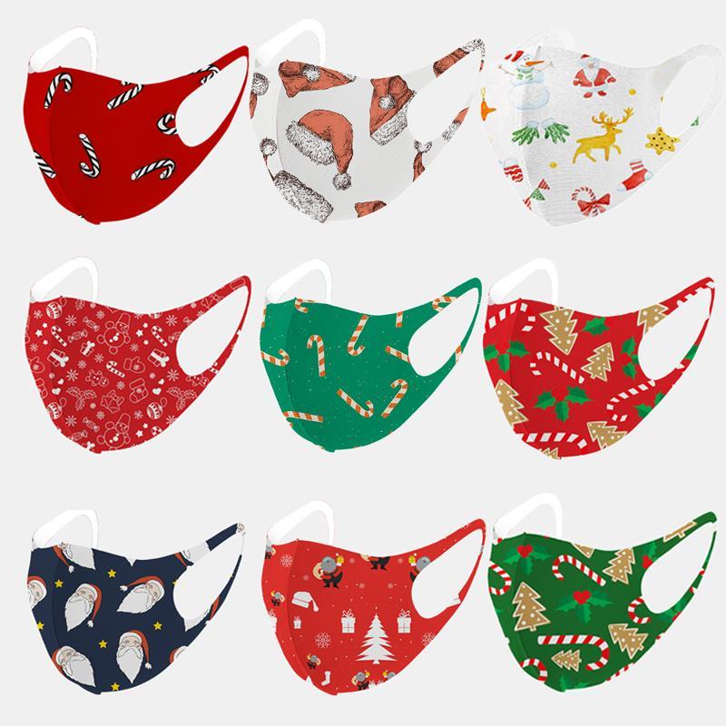 2020 Christmas Washable Face Máscara Moda Papai Noel Impressão de Ice Silk Algodão Protetora Protetora Improof Reusável Xmas Boca Máscaras Individual