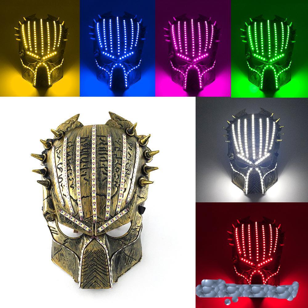 Косплей горячий продавать Хэллоуин маска для лица тема лица хищник 5V светодиодные реквизиты 2020 фильм 6 дизайнерская маска маски цвета цвета светящиеся
