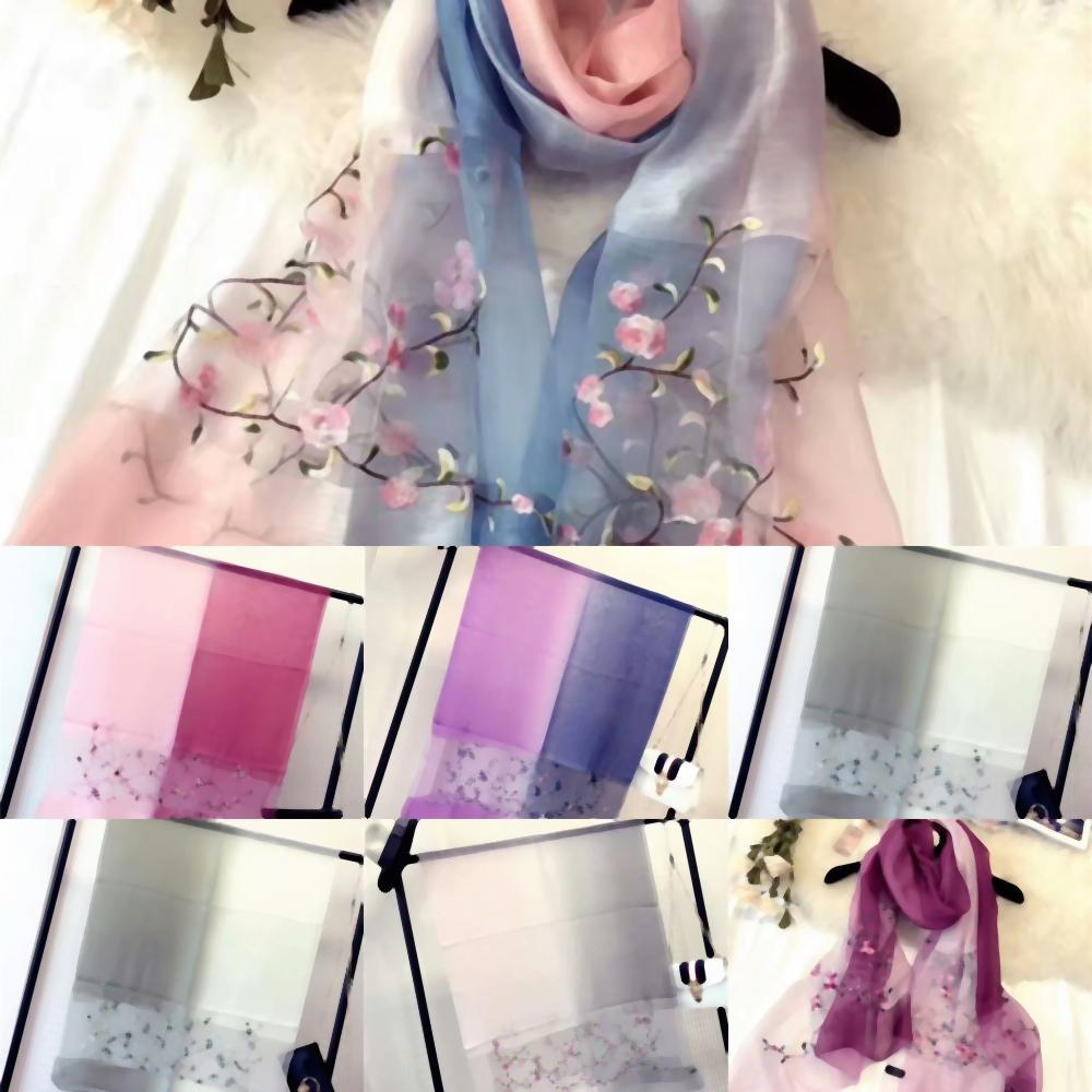 u9nOE material women's embroidery flowers square scarf twill size quality scarves silk style pint MECANIQE EU TEMPS good Chinese style