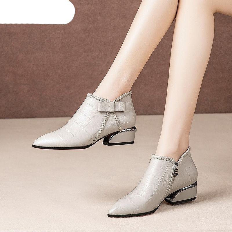 Плюс Размер 42 Ботильоны женщин Платформа Узелок Пряжка обувь Толстый каблук Короткие загрузки Женская повседневная обувь высокого ботинка