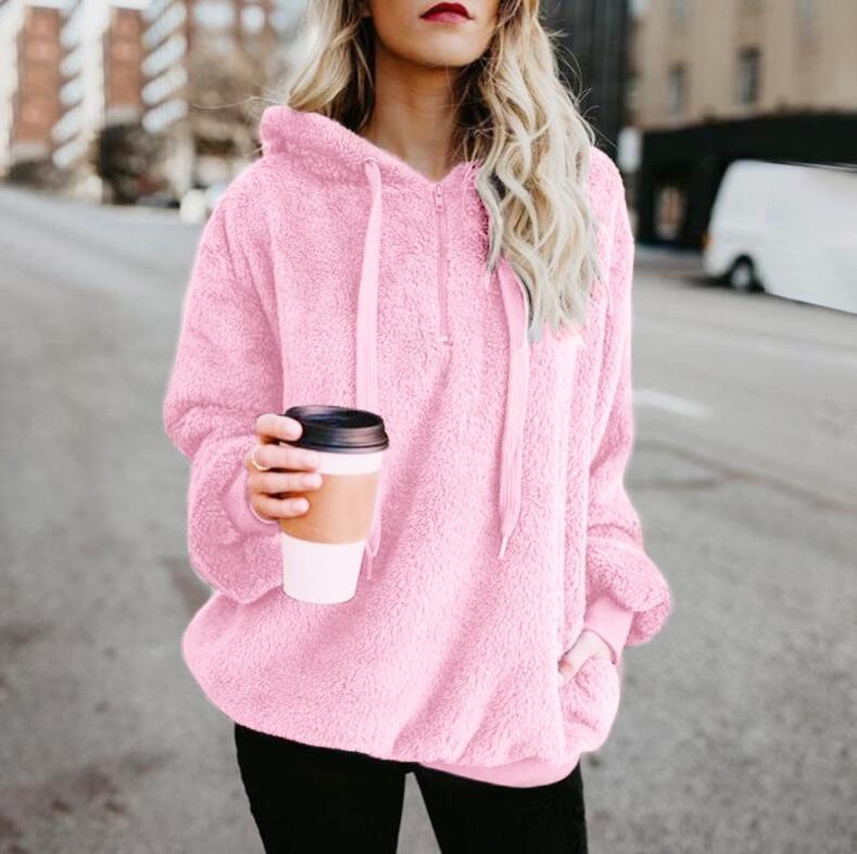 Hot Sale 11 cores moda outono e inverno 2020 superior bolso com zíper jumpsuit das mulheres de pelúcia Top Sweater corpo sweater sweater