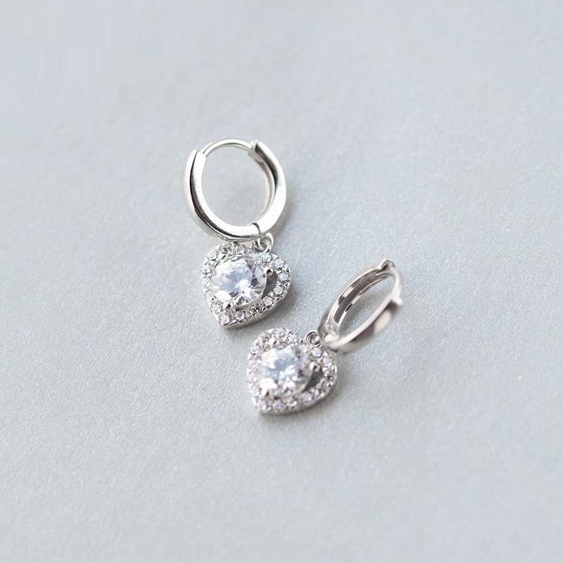 h8PKQ S925 серебряного earwomen корейской мода стиля полной Алмазной Любовь earheart-образная серьга серьга eardropaccessories eardropear принадлежнос