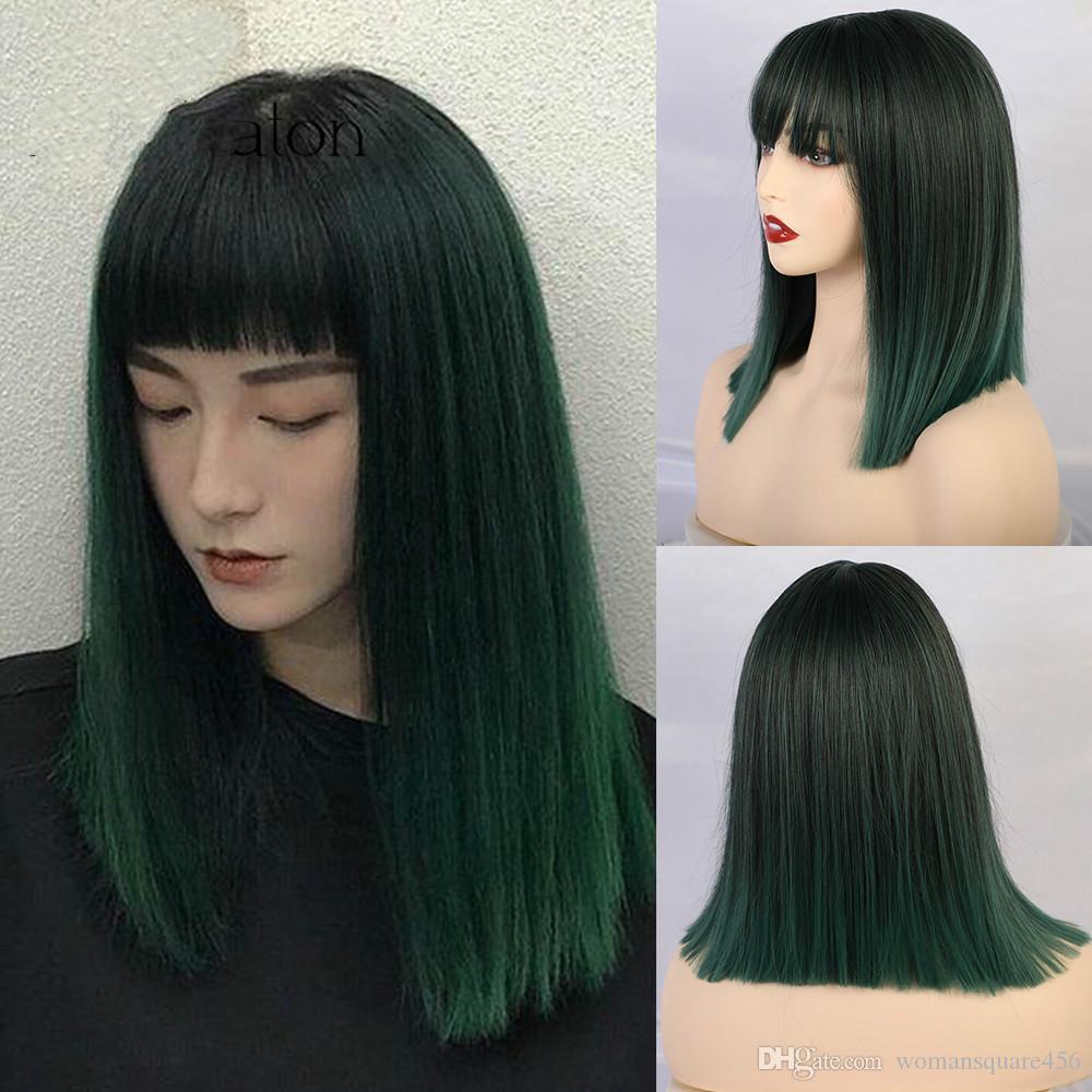 Las mujeres medianamente recta pelucas sintéticas de alta temperatura de la franja de pelo con flequillo / Mix Negro Verde Bobo lolita cosplay peluca