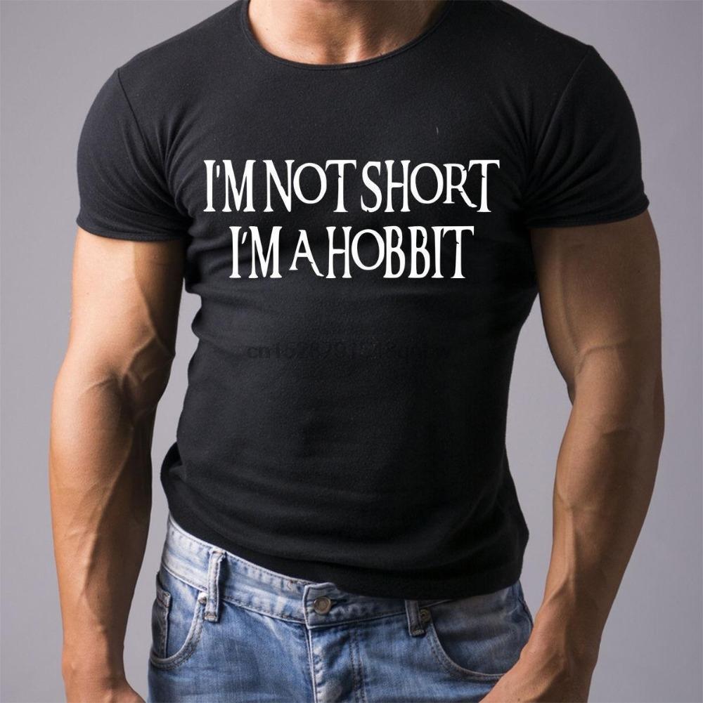 2019 Новый бренд Топы Горячие продажи Прохладный футболку Я не Short I'M Хоббит Смешной Printed Mens T Shirt Boyfriend Идея подарка Tee Shirt