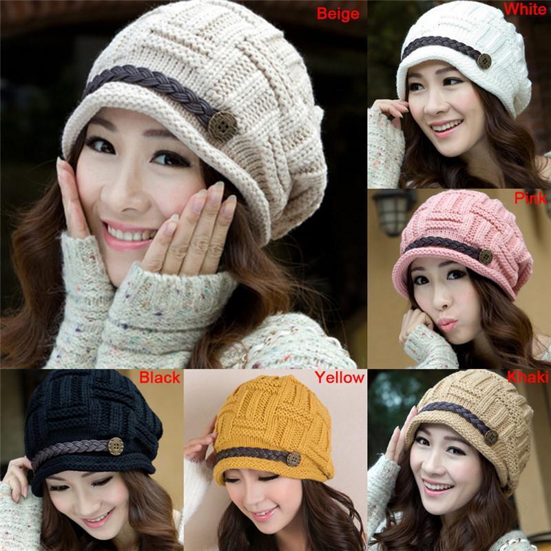 1 Adet Kadın Kış Bonnet Şapka Kadın Örme Tığ Casual Cap kasketleri İçin Kadınlar Katı Renk Sıcak Caps Skullies Bonnet Sıcak Satış