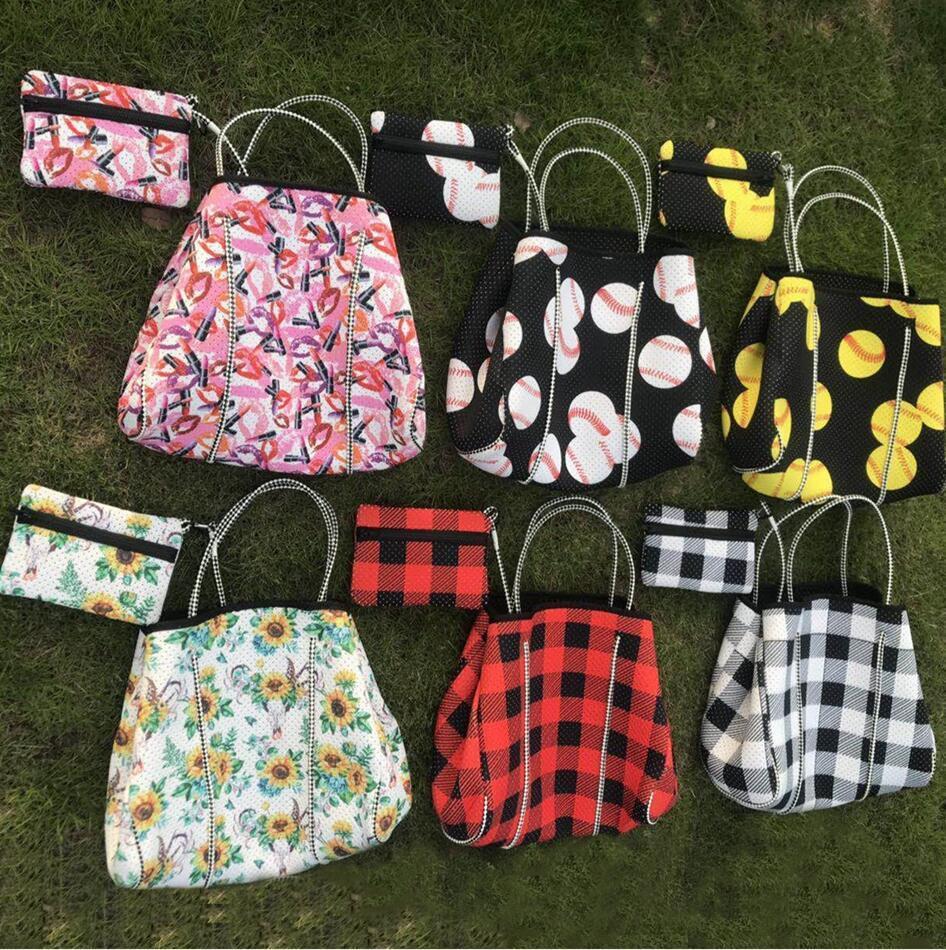 Neopren-Reise Handtasche Schulter Slant über große Tasche Plaid Printing Handtaschen Crossbody Packung Strandtaschen Ljjp0535