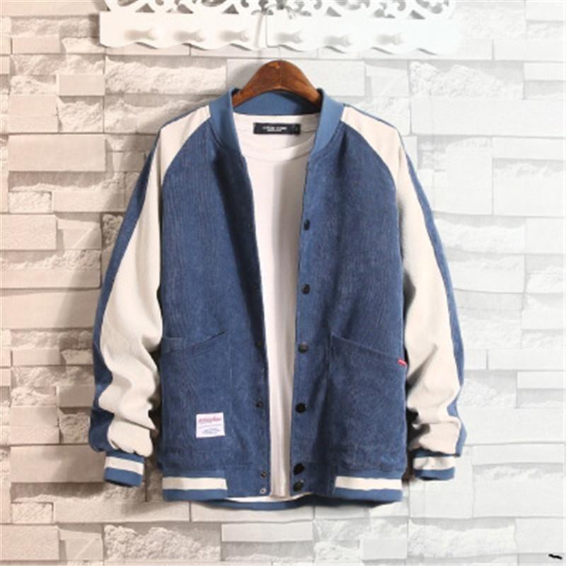 Adam Koreli Kadife Ceket Palto Moda Trend Uzun Kollu Gevşek Beyzbol Yaka colorblock Coat Tasarımcı Düğme Cep Dış Giyim Giyim