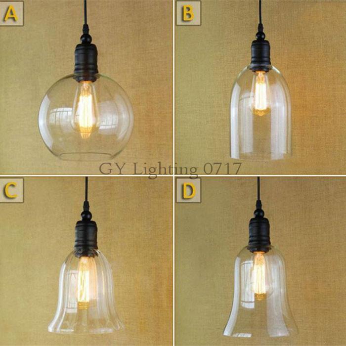 Retro Industrial Diy Ceiling Lamp Light Glass Pendant Lighting Home Decor Fixtures Edison Bulb E27 110v -240v Industrial Hanging Lighting