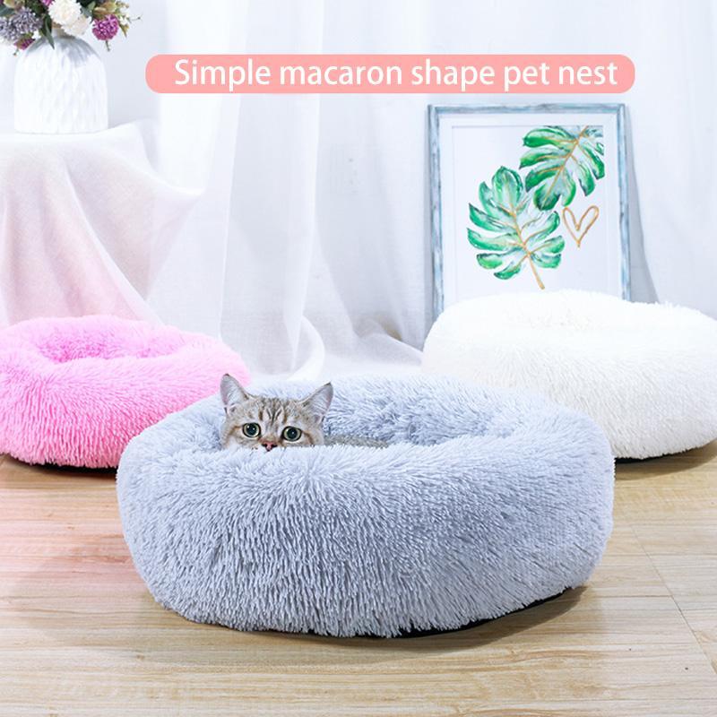 Gatti inverno pelo caldo nido soffice peluche lunga Dog futon Pet Cuscino portatili Animali Forniture rotonda Plush Cat PV Bed Casa della stuoia del gatto