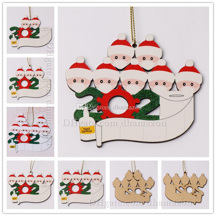EN STOCK Décoration de Noël en bois Nom bricolage Bénédiction de Noël Ornement personnalisé Arbre de famille de 2-7 Ornement social Distanc