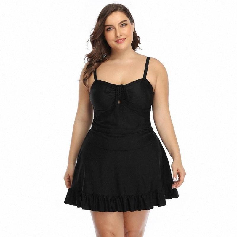 قافية سيدة الصلبة حجم كبير قطعة واحدة ملابس السباحة زائد الحجم النساء 2020 العميق الخامس الرقبة مثير أسود أخضر أزرق بيكيني 6xl ملابس مبطن IY6B #