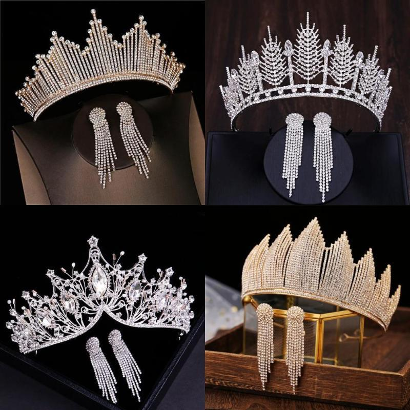 Baroque Luxury Silver Color Crystal Bridal Tiaras Crown With Earrings Rhinestone Pageant Diadem Wedding Hair Accessories Bijoux