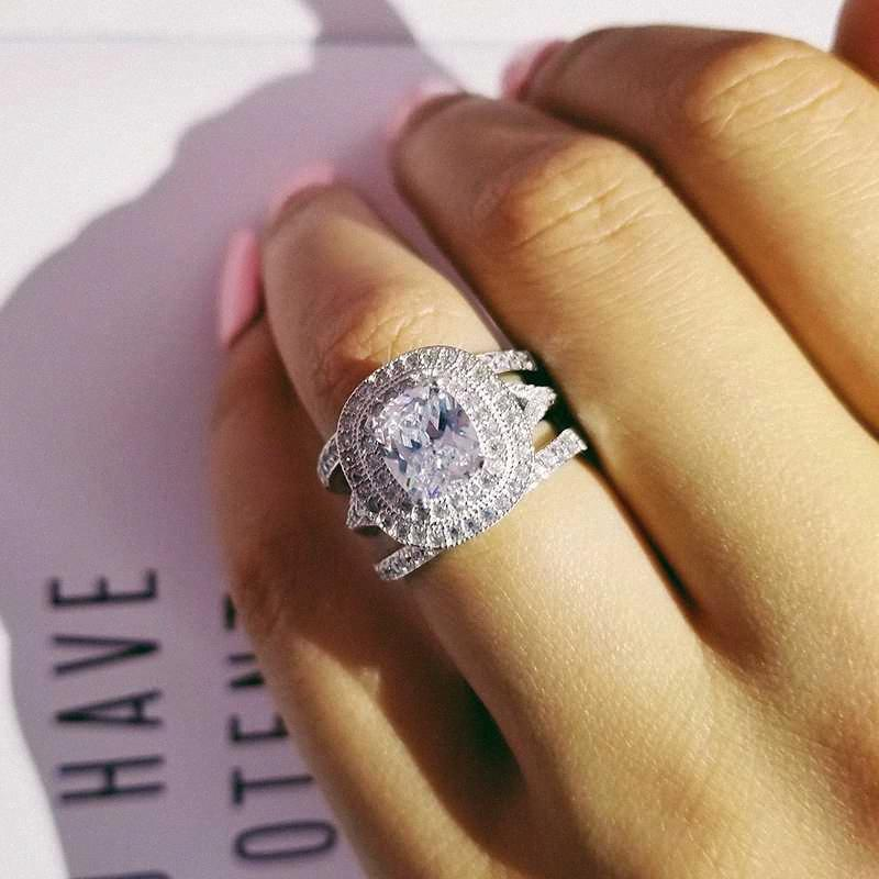 solido 925 3pcs dell'argento sterlina nella Ring 1 cuscino zircone Wedding Set nuziale per le donne Finger monili del regalo Africa moda R4842 AibX #