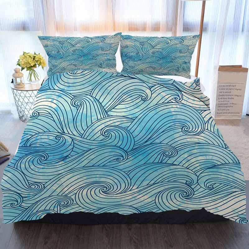 Literie 3 ensemble housse de couette, fond avec des vagues, maison de luxe douce couette Couette Couverture