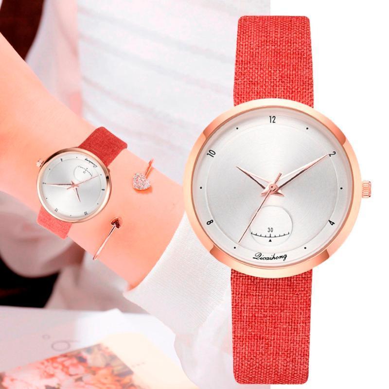 New Fashion mulheres relógios simples Falso pequeno mostrador monocromático relógio de couro com alça Ladies Watch Relógio presente Relógio de pulso Relogio