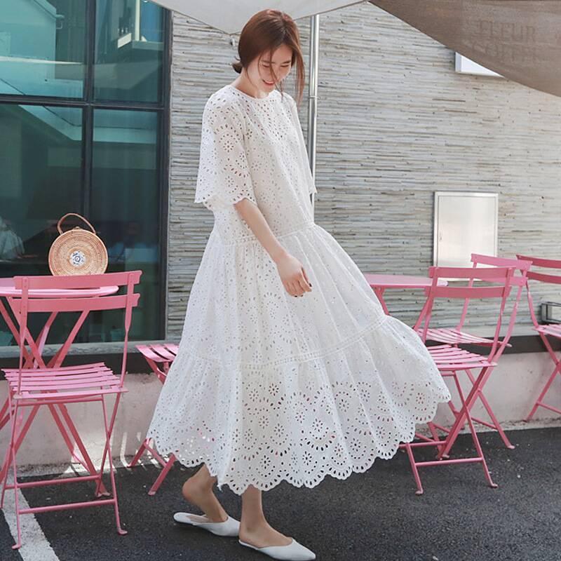 2020 Новые выдалбливают кружевное платье лето Элегантные вскользь женщина с спагетти ремнем жилет платье