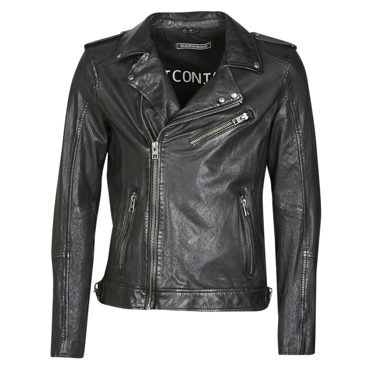 oakwood men's fashion casual leather jacket short leather jacket autumn black 63600-0501