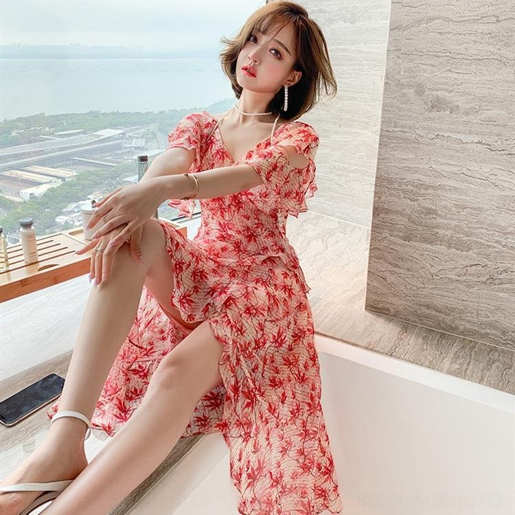 ZYTrV o9pm0 Light 2020 dress women's artificial printed mature Jixin waist slimming irregular dress V-neck Xia flounced