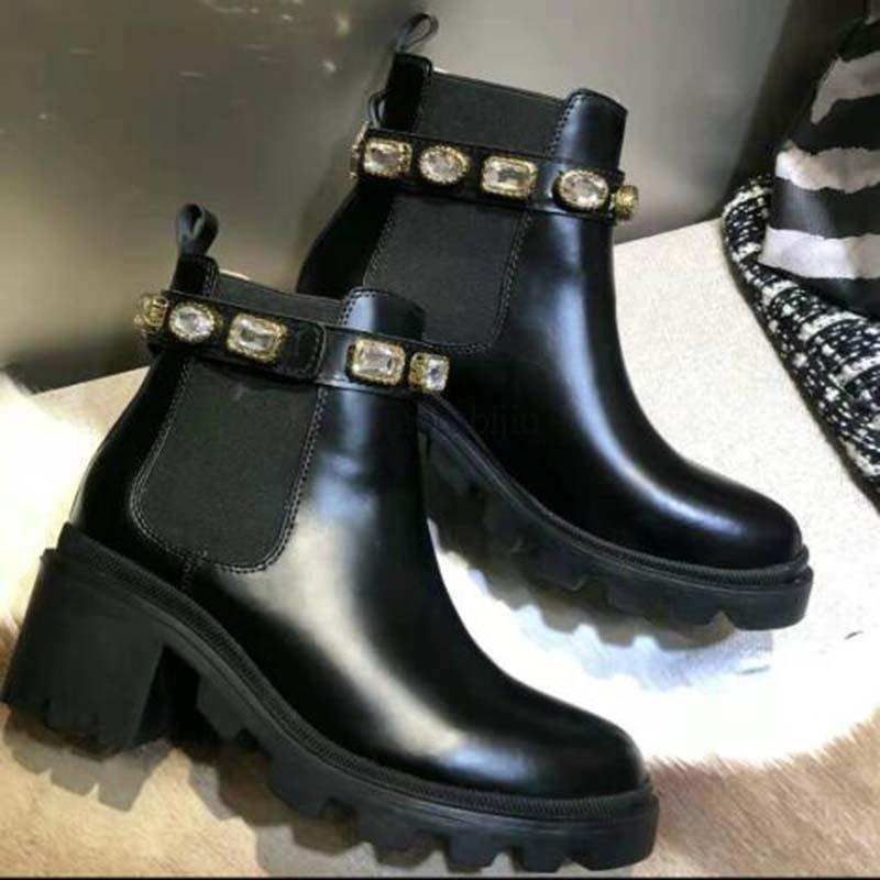 Para mujer botines de cuero con el diamante de la correa correa de la cinta de la hebilla de los cargadores del tobillo directo de fábrica femenino áspera del talón de cabeza redonda de los zapatos f5
