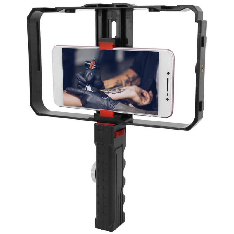 Universal-Video Phone Cage Stabilisator Filmmaking Rig Dual Griff Handtelefon Kippschutzwinkel mit Triple Kalt Schuh-Einfassung
