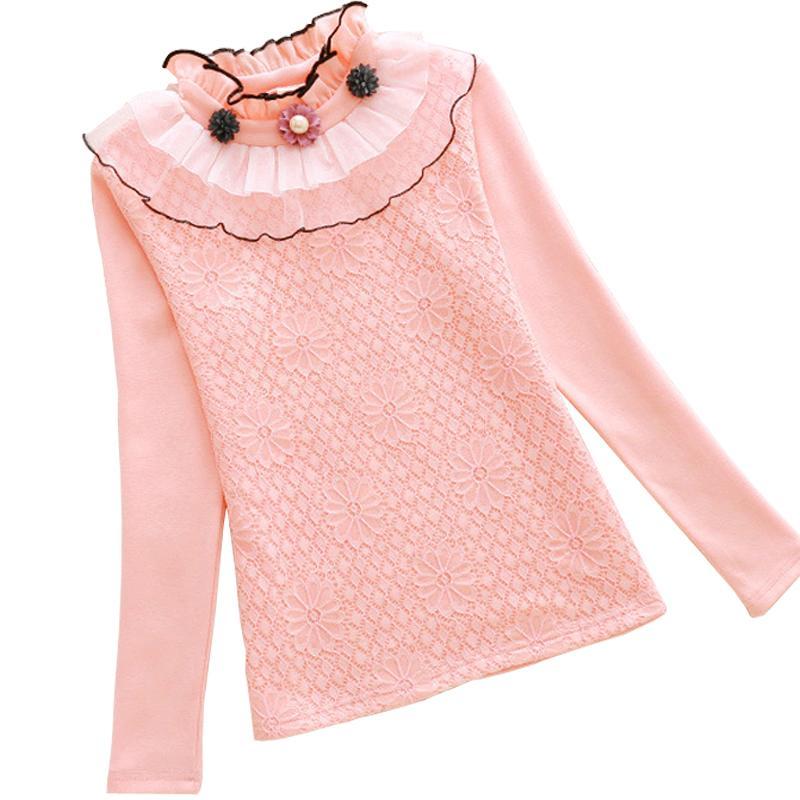 Otoño Invierno ropa de los niños flor de las muchachas camisa de la blusa de cuello alto caliente algodón Tops 2-13Yrs ropa de la muchacha School Tee cordón de los niños