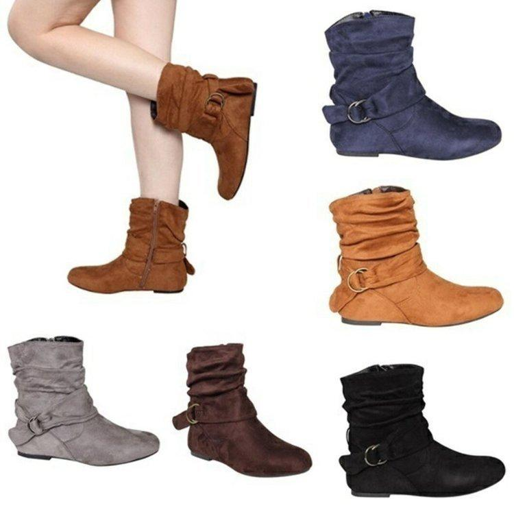 Europe Vintage Women Ankle Boots Buckle Rubber Casual Ladies Shoes Martin Boots Female Autumn Winter Punk Flat Boots Large Size Sexy