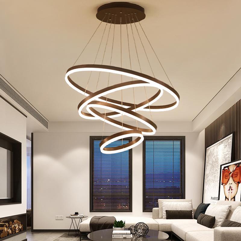 Pendant luzes LED Modern Hanging lâmpada do teto Sala de jantar Quarto Círculo Anéis Acrílico Corpo de alumínio Teto lâmpada Fixture