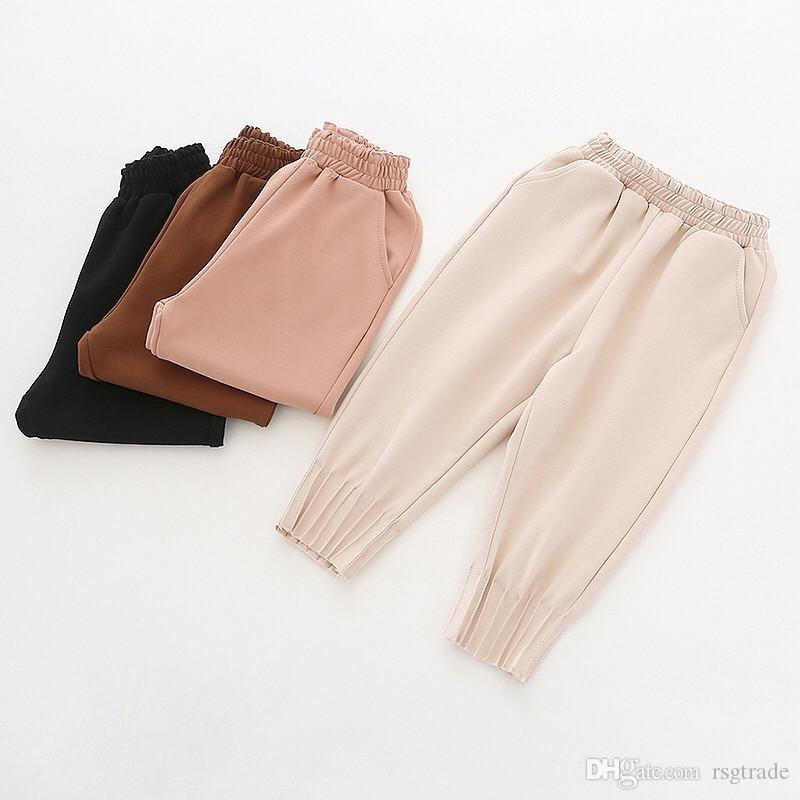 INS Autumn Little Girls Pants Ruffles Blank Pockets Pants Designs Elastic Wasit Spring Homewear Children Girls Trousers