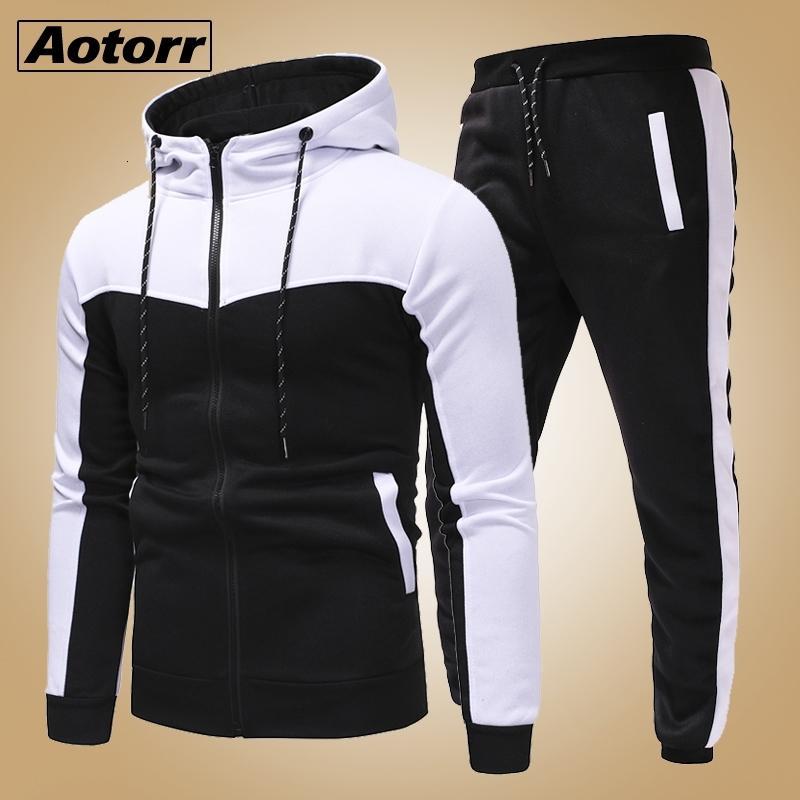 New Fashion Men Set Zipper Hoodies+Pants Sets Tracksuit Men's Casual Slim Fit Sportswear Male Brand Sweat Shirts Clothing