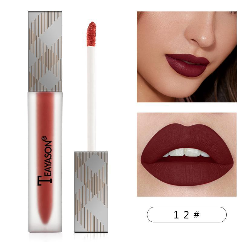 Sexy Red 12Color Matte Lipgloss Sexy Liquid Lipstick Matte Long Lasting Waterproof Cosmetic Beauty Keep 24 Hours Makeup Lipgloss