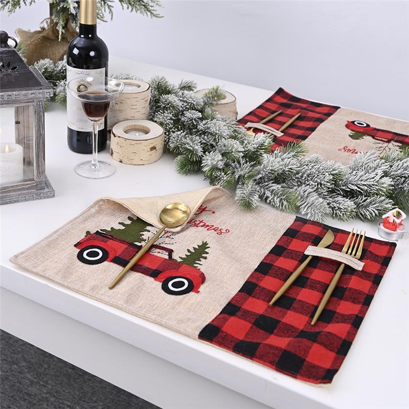 Ev Noel Masa Dekorasyon JK2009XB Yemek Yılbaşı Ağacı Kırmızı Kamyon Placemats Masa Mat Kış Buffalo Ekose Placemat