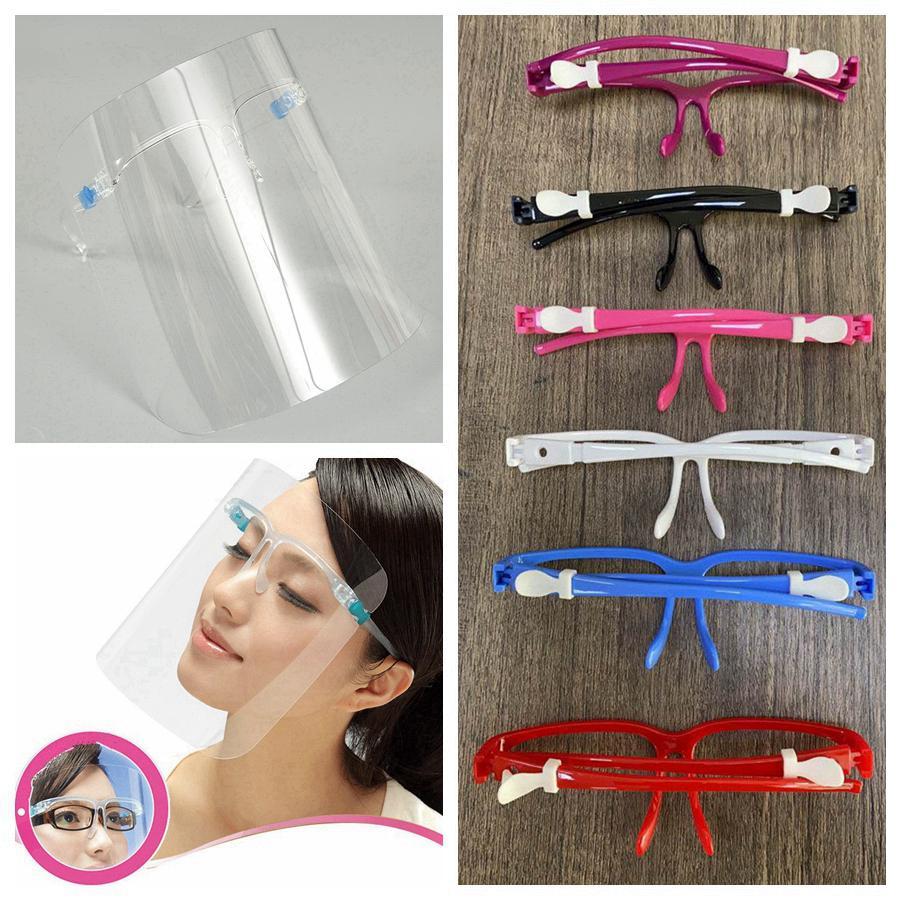 Emniyet Şeffaf faceshield Maskeler PET Plastik Şeffaf Yüz Shield Yeniden kullanılabilir Karşıtı Splash Sis Koruyucu faceshield Tasarımcı Maskeler RRA3365 Maske