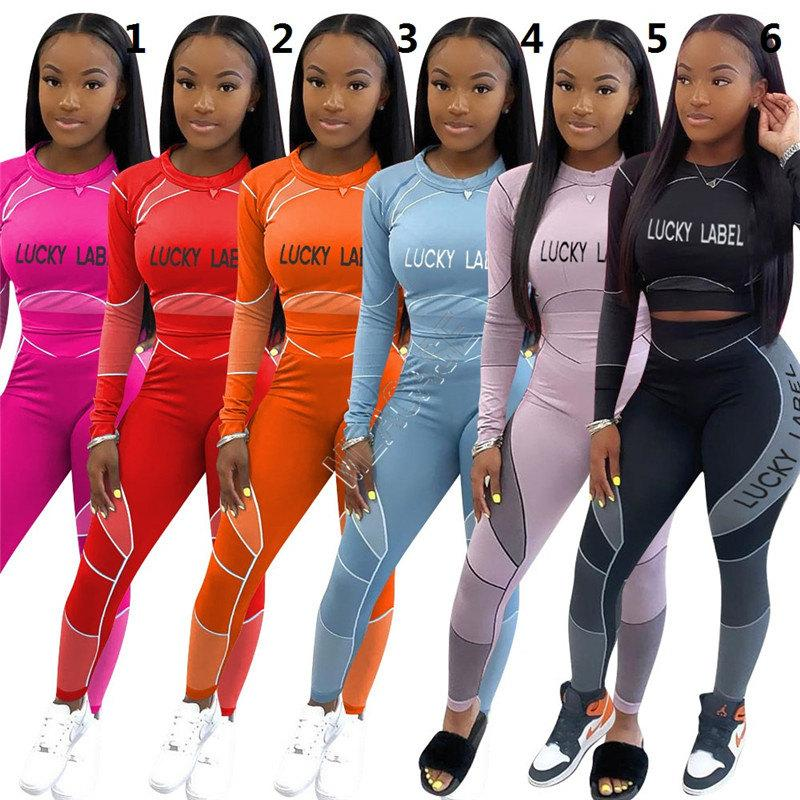 Women Tracksuit Lucky Label Letters Long Sleeves T Shirt Crop Top Tight Leggings Pants Running Two Piece Set Outfit Sports Suit S-XXL D92305