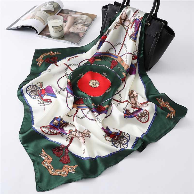 2020 diseño de impresión Zijden sjaal Haarband Vrouwen Vierkante Tas Sjaals Foulard Pañuelo Sjaals Hoofddoek
